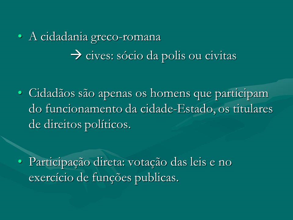 A cidadania greco-romanaA cidadania greco-romana cives: sócio da polis ou civitas cives: sócio da polis ou civitas Cidadãos são apenas os homens que p