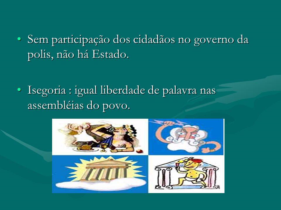 Sem participação dos cidadãos no governo da polis, não há Estado.Sem participação dos cidadãos no governo da polis, não há Estado. Isegoria : igual li