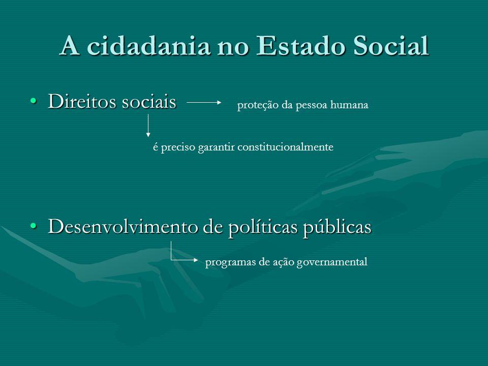 A cidadania no Estado Social Direitos sociaisDireitos sociais Desenvolvimento de políticas públicasDesenvolvimento de políticas públicas proteção da p