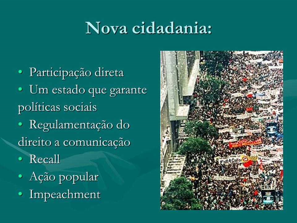 Nova cidadania: Participação diretaParticipação direta Um estado que garanteUm estado que garante políticas sociais Regulamentação doRegulamentação do