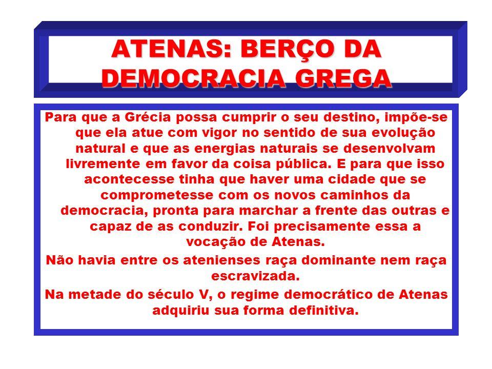 ATENAS: BERÇO DA DEMOCRACIA GREGA A evolução política da Grécia delineia-se claramente até o final do século VI. A cidade tornara-se forte ao libertar