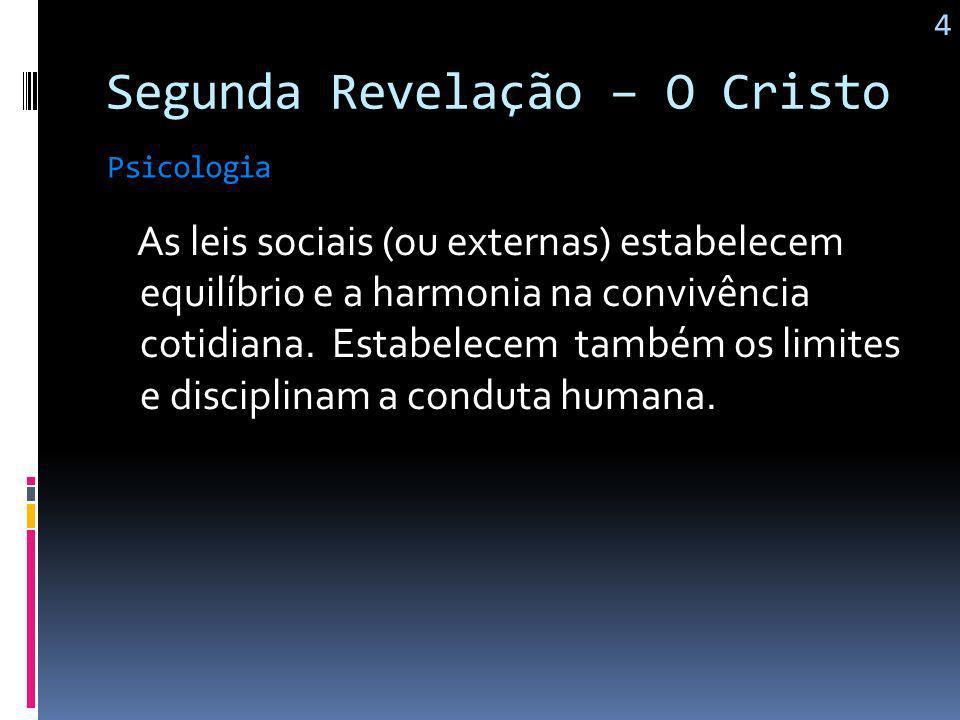 Segunda Revelação – O Cristo A revolução de que Jesus nos traz não é apenas político-social, mas principalmente, psico-espiritual. Psicologia 3