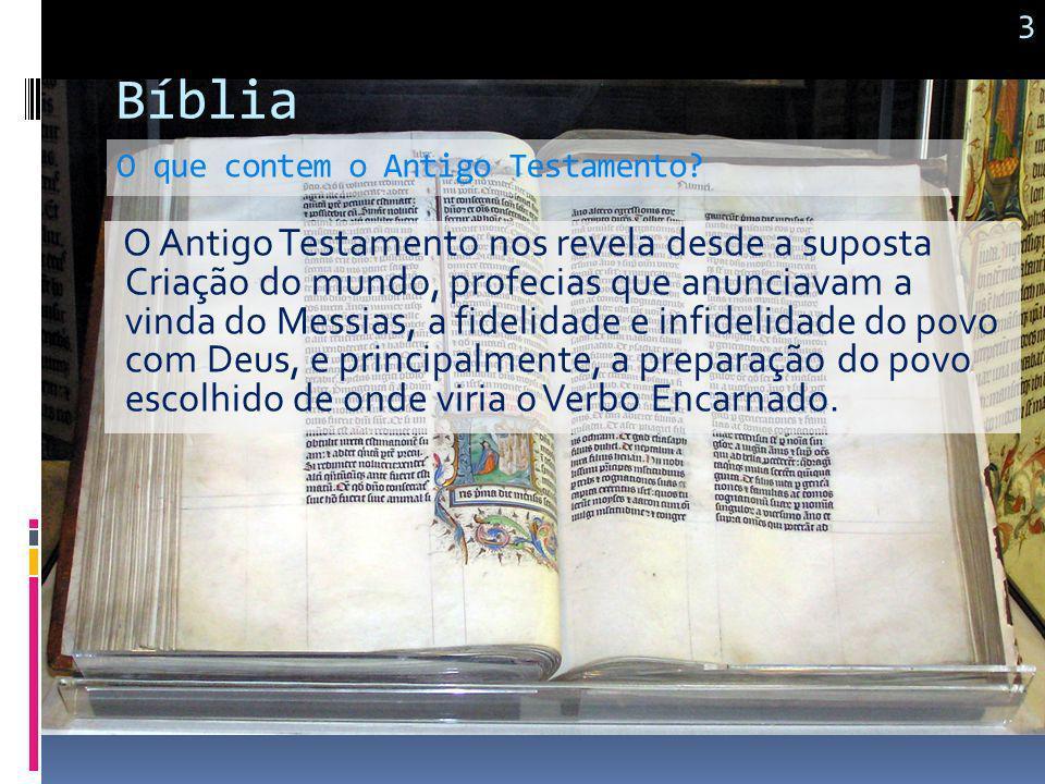 Bíblia Podemos encontrar na traduções católica 73 livros. A saber: Antigo Testamento com 46 Livros Novo Testamento com 27 Livros Como ela é formada? N
