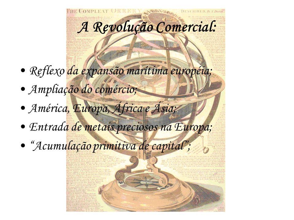 A Revolução Comercial: Reflexo da expansão marítima européia; Ampliação do comércio; América, Europa, África e Ásia; Entrada de metais preciosos na Eu