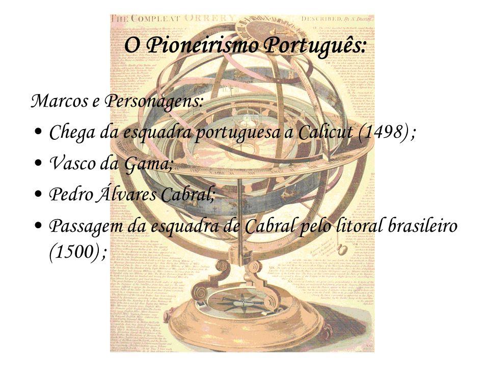 O Pioneirismo Português: Marcos e Personagens: Chega da esquadra portuguesa a Calicut (1498) ; Vasco da Gama; Pedro Álvares Cabral; Passagem da esquad