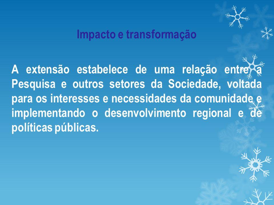Impacto e transformação A extensão estabelece de uma relação entre a Pesquisa e outros setores da Sociedade, voltada para os interesses e necessidades