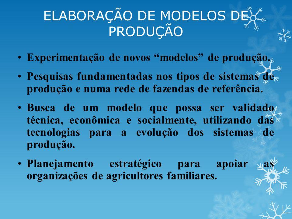 Experimentação de novos modelos de produção. Pesquisas fundamentadas nos tipos de sistemas de produção e numa rede de fazendas de referência. Busca de