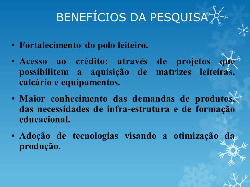 Fortalecimento do polo leiteiro. Acesso ao crédito: através de projetos que possibilitem a aquisição de matrizes leiteiras, calcário e equipamentos. M