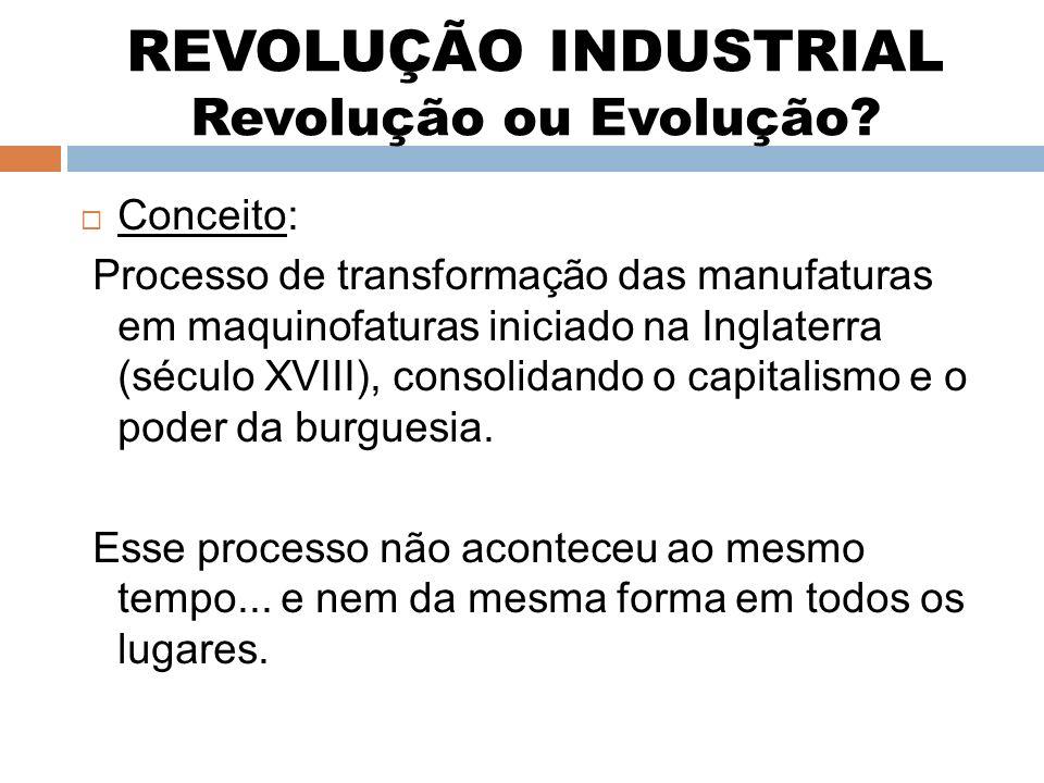 REVOLUÇÃO INDUSTRIAL Revolução ou Evolução? Conceito: Processo de transformação das manufaturas em maquinofaturas iniciado na Inglaterra (século XVIII