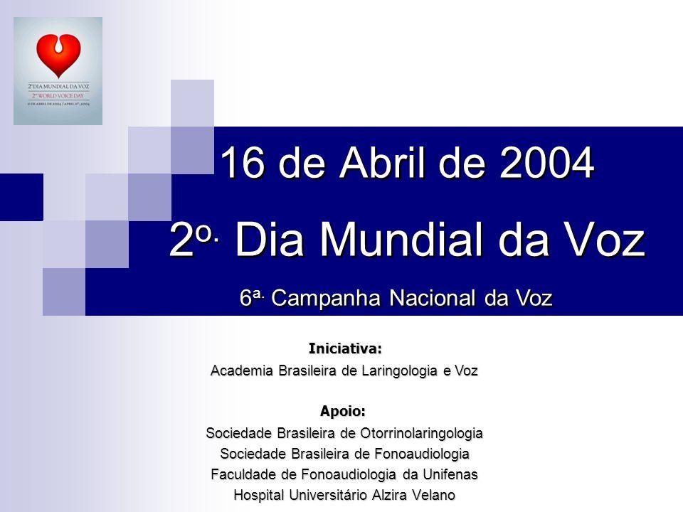 16 de Abril de 2004 2 o. Dia Mundial da Voz Sociedade Brasileira de Otorrinolaringologia Sociedade Brasileira de Fonoaudiologia Faculdade de Fonoaudio