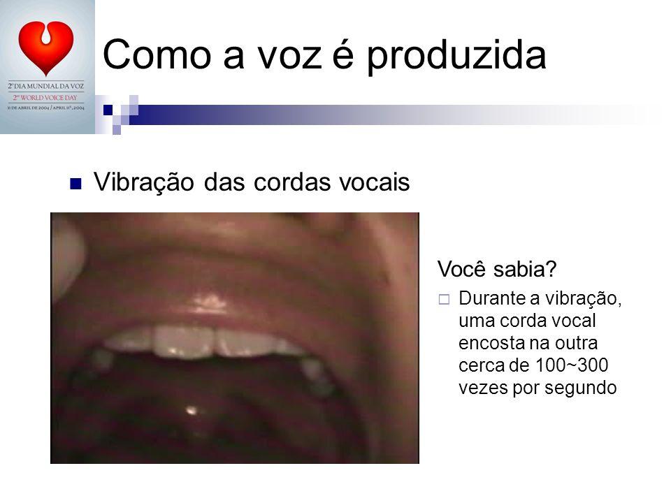 Como a voz é produzida Vibração das cordas vocais Você sabia? Durante a vibração, uma corda vocal encosta na outra cerca de 100~300 vezes por segundo