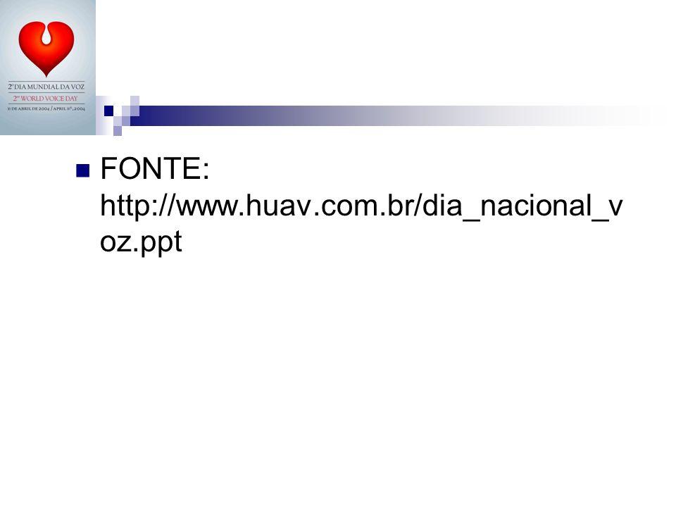FONTE: http://www.huav.com.br/dia_nacional_v oz.ppt