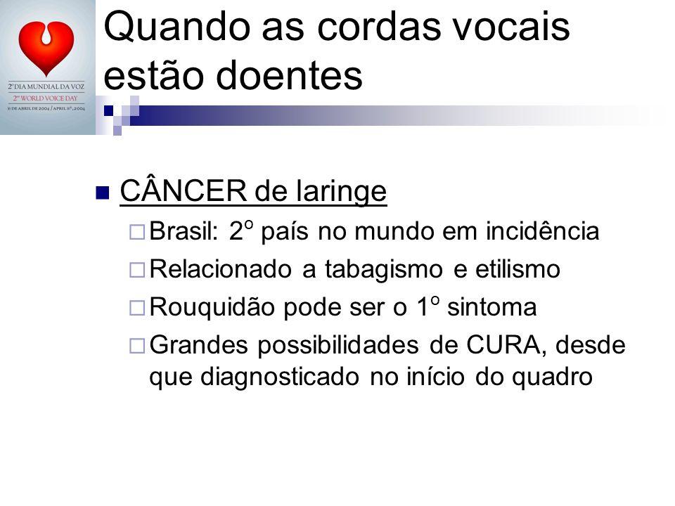 CÂNCER de laringe Brasil: 2 o país no mundo em incidência Relacionado a tabagismo e etilismo Rouquidão pode ser o 1 o sintoma Grandes possibilidades d