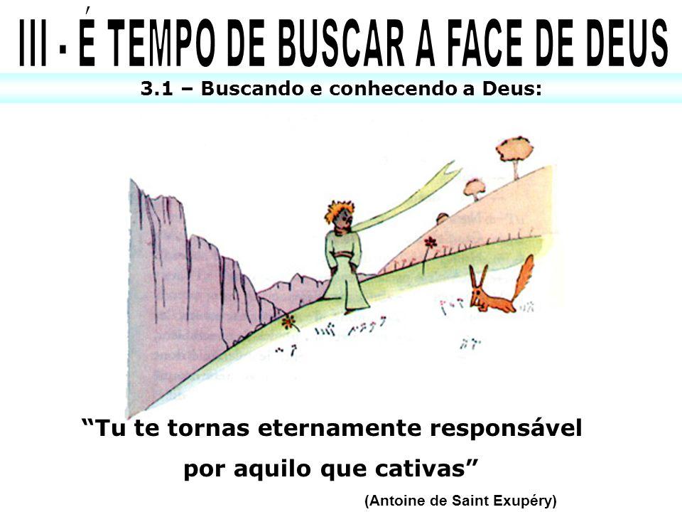 3.1 – Buscando e conhecendo a Deus: Tu te tornas eternamente responsável por aquilo que cativas (Antoine de Saint Exupéry)