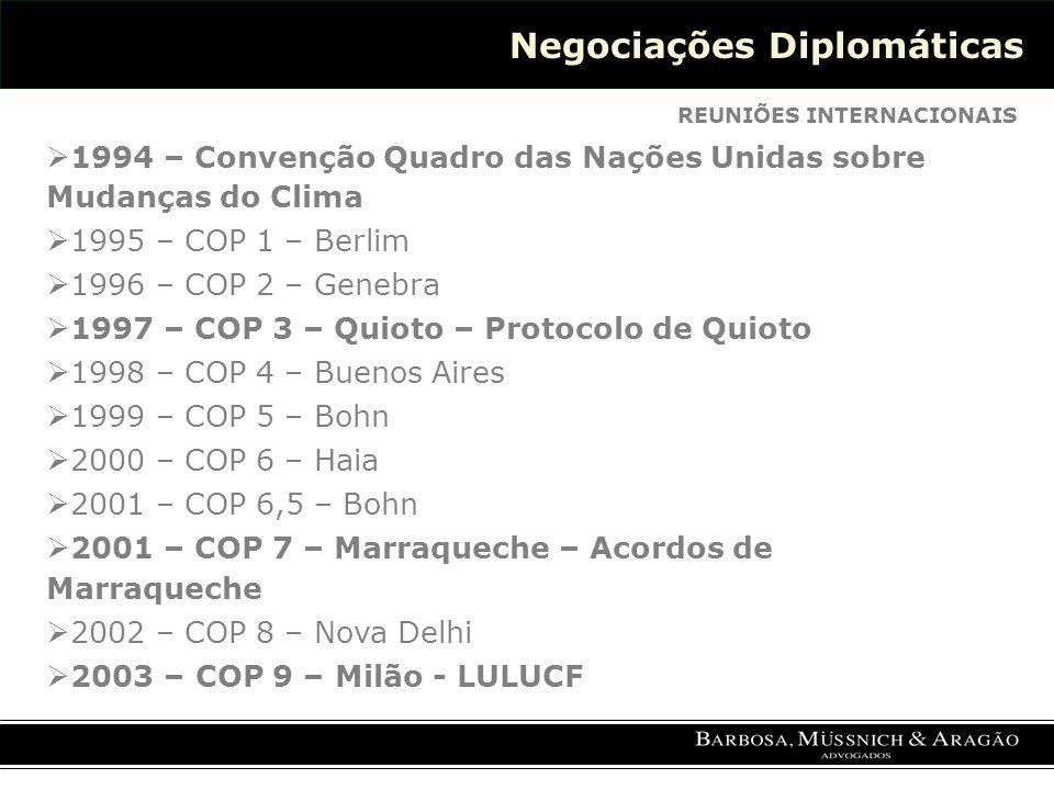 Negociações Diplomáticas REUNIÕES INTERNACIONAIS 1994 – Convenção Quadro das Nações Unidas sobre Mudanças do Clima 1995 – COP 1 – Berlim 1996 – COP 2 – Genebra 1997 – COP 3 – Quioto – Protocolo de Quioto 1998 – COP 4 – Buenos Aires 1999 – COP 5 – Bohn 2000 – COP 6 – Haia 2001 – COP 6,5 – Bohn 2001 – COP 7 – Marraqueche – Acordos de Marraqueche 2002 – COP 8 – Nova Delhi 2003 – COP 9 – Milão - LULUCF