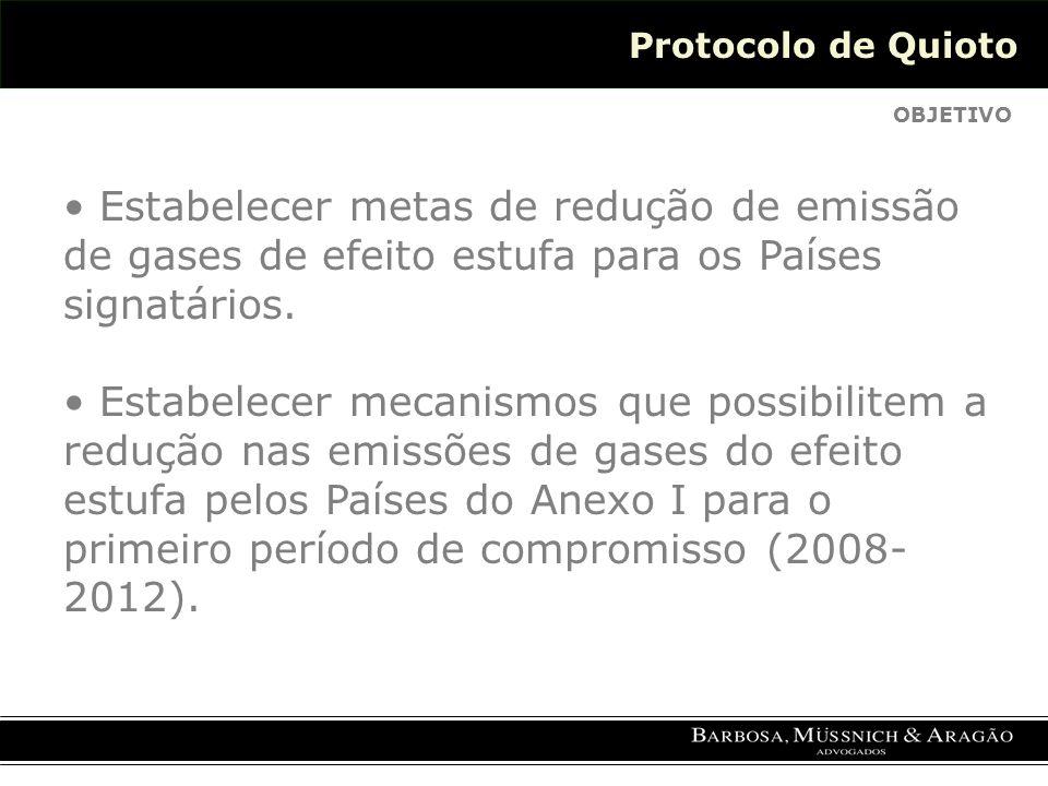Protocolo de Quioto OBJETIVO Estabelecer metas de redução de emissão de gases de efeito estufa para os Países signatários.