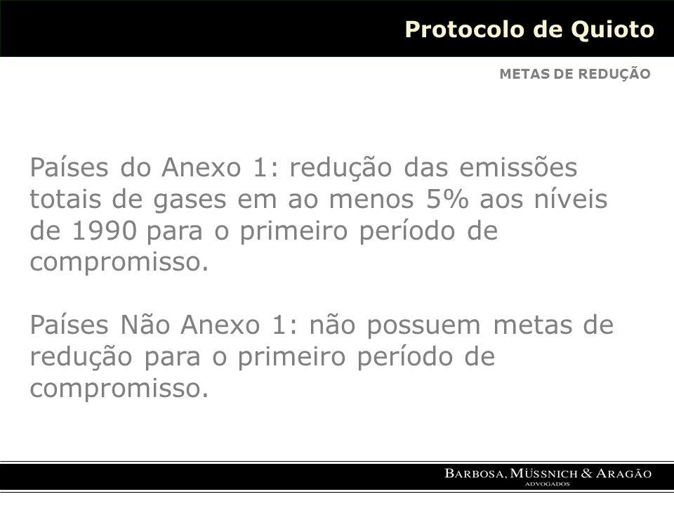 Protocolo de Quioto METAS DE REDUÇÃO Países do Anexo 1: redução das emissões totais de gases em ao menos 5% aos níveis de 1990 para o primeiro período de compromisso.