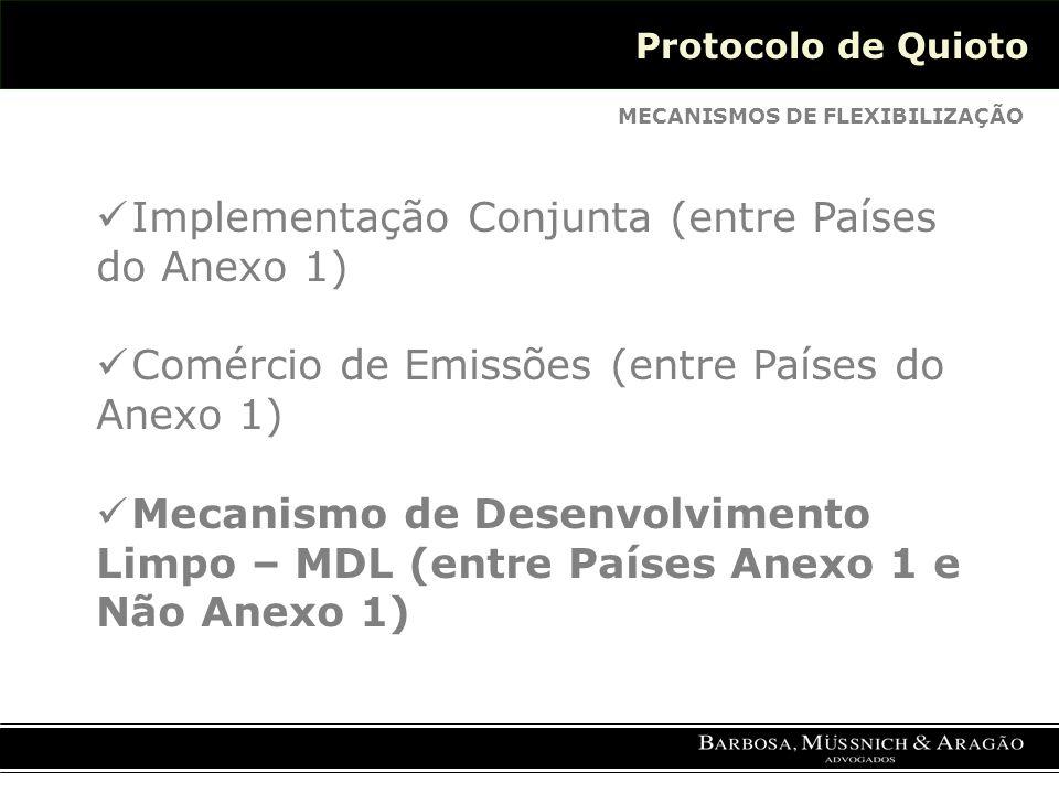 Protocolo de Quioto MECANISMOS DE FLEXIBILIZAÇÃO Implementação Conjunta (entre Países do Anexo 1) Comércio de Emissões (entre Países do Anexo 1) Mecanismo de Desenvolvimento Limpo – MDL (entre Países Anexo 1 e Não Anexo 1)