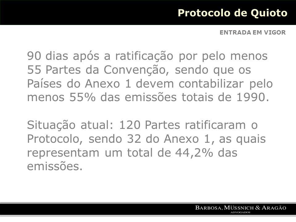 Protocolo de Quioto ENTRADA EM VIGOR 90 dias após a ratificação por pelo menos 55 Partes da Convenção, sendo que os Países do Anexo 1 devem contabilizar pelo menos 55% das emissões totais de 1990.