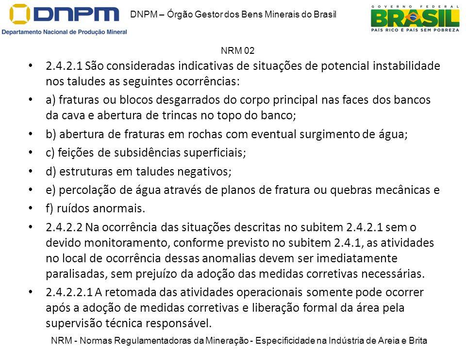 2.4.2.1 São consideradas indicativas de situações de potencial instabilidade nos taludes as seguintes ocorrências: a) fraturas ou blocos desgarrados d