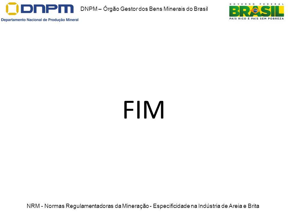 FIM DNPM – Órgão Gestor dos Bens Minerais do Brasil NRM - Normas Regulamentadoras da Mineração - Especificidade na Indústria de Areia e Brita