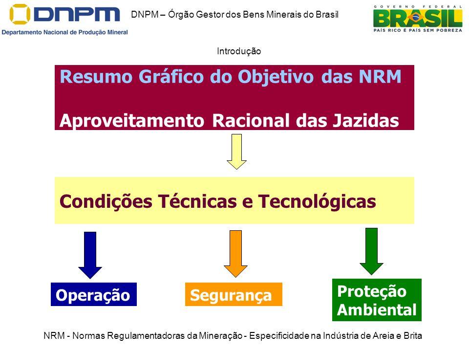 DNPM – Órgão Gestor dos Bens Minerais do Brasil Introdução Resumo Gráfico do Objetivo das NRM Aproveitamento Racional das Jazidas Operação Proteção Am