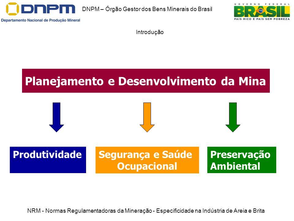 DNPM – Órgão Gestor dos Bens Minerais do Brasil Introdução NRM - Normas Regulamentadoras da Mineração - Especificidade na Indústria de Areia e Brita P