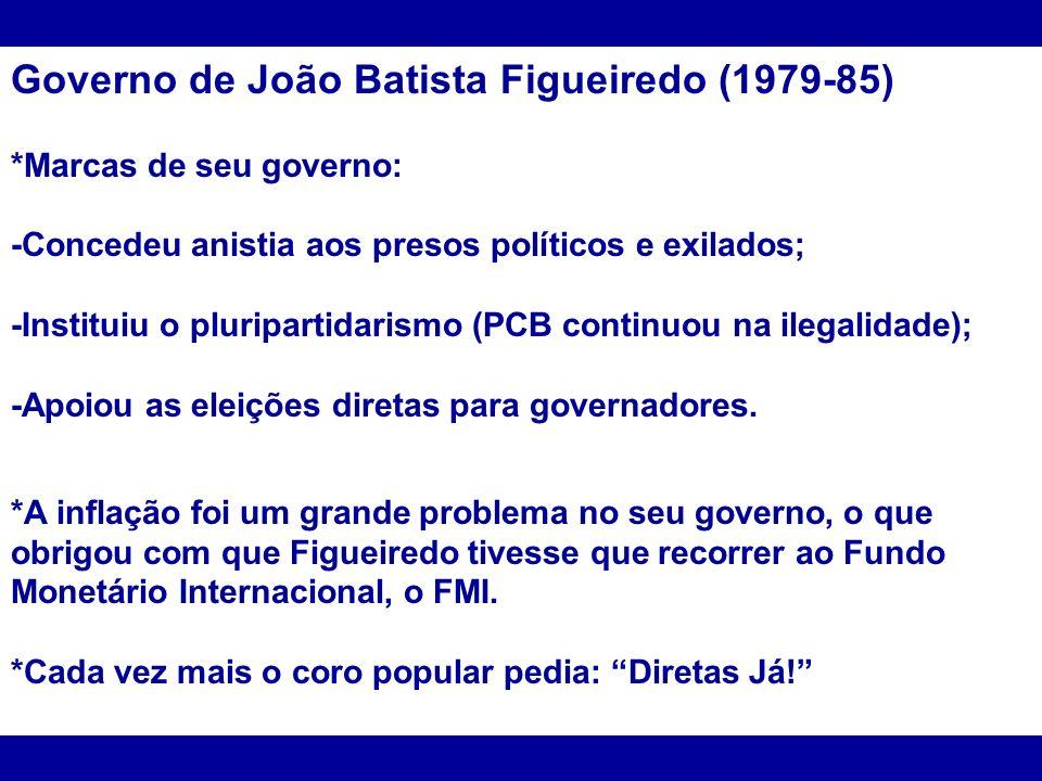 Governo de João Batista Figueiredo (1979-85) *Marcas de seu governo: -Concedeu anistia aos presos políticos e exilados; -Instituiu o pluripartidarismo