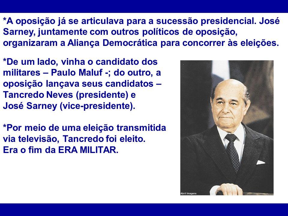 *A oposição já se articulava para a sucessão presidencial. José Sarney, juntamente com outros políticos de oposição, organizaram a Aliança Democrática