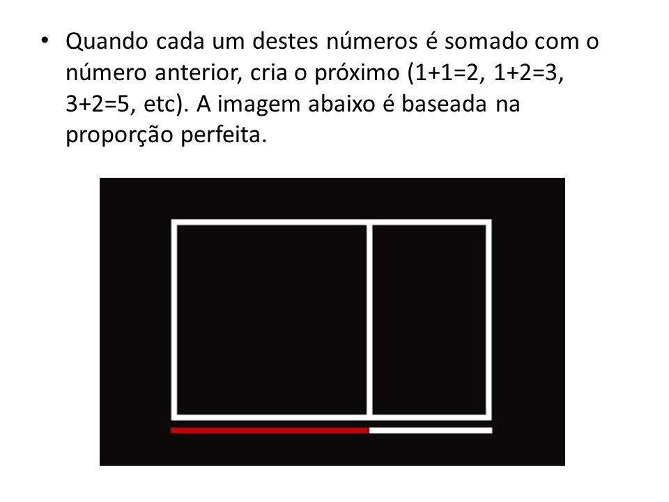 Quando cada um destes números é somado com o número anterior, cria o próximo (1+1=2, 1+2=3, 3+2=5, etc). A imagem abaixo é baseada na proporção perfei