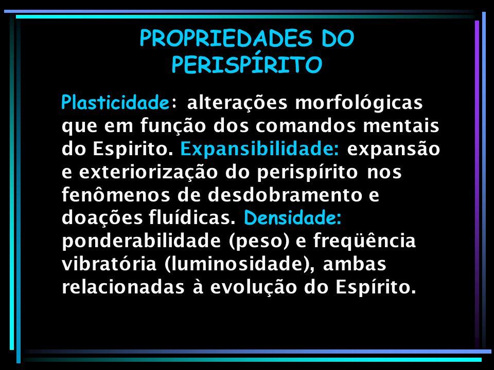 PROPRIEDADES DO PERISPÍRITO Plasticidade: alterações morfológicas que em função dos comandos mentais do Espirito. Expansibilidade: expansão e exterior