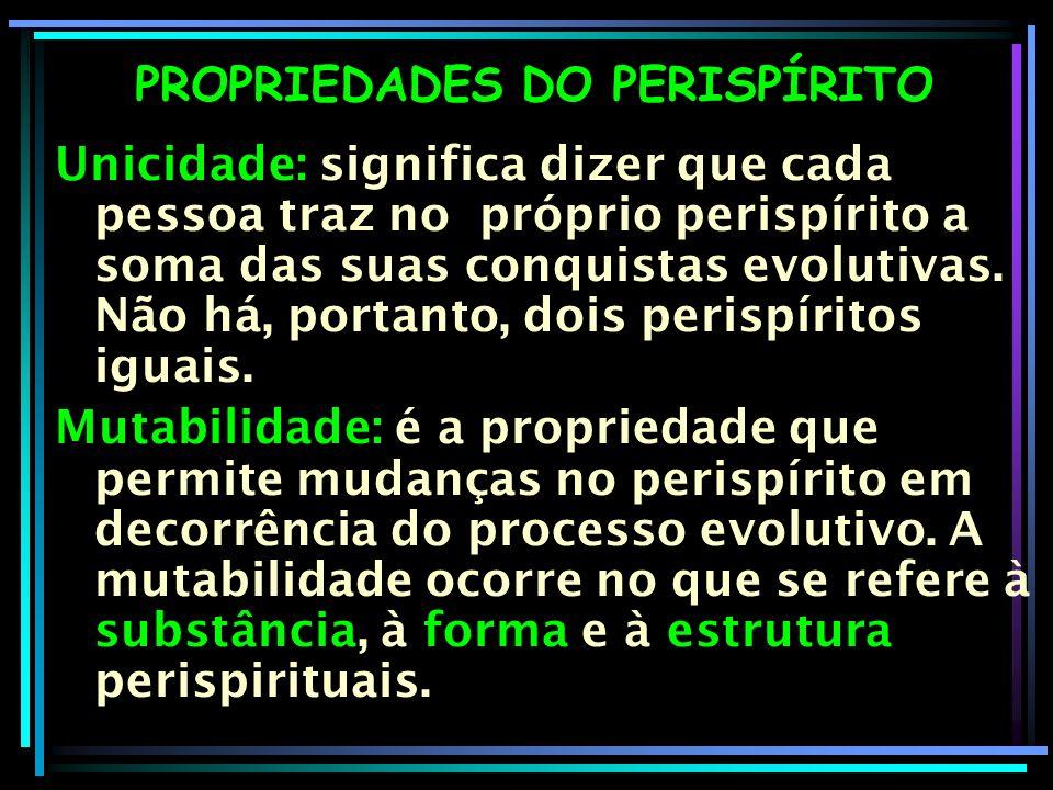 PROPRIEDADES DO PERISPÍRITO Unicidade: significa dizer que cada pessoa traz no próprio perispírito a soma das suas conquistas evolutivas. Não há, port