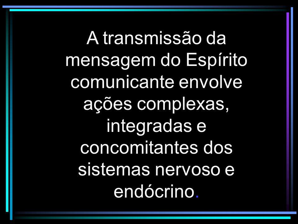 A transmissão da mensagem do Espírito comunicante envolve ações complexas, integradas e concomitantes dos sistemas nervoso e endócrino.