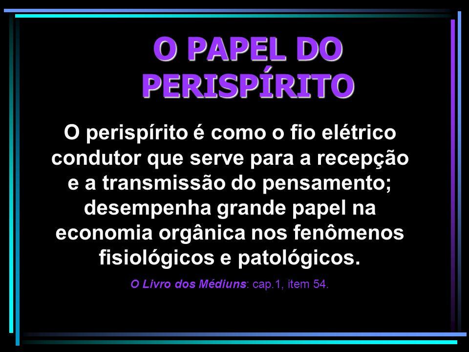 O PAPEL DO PERISPÍRITO O perispírito é como o fio elétrico condutor que serve para a recepção e a transmissão do pensamento; desempenha grande papel n