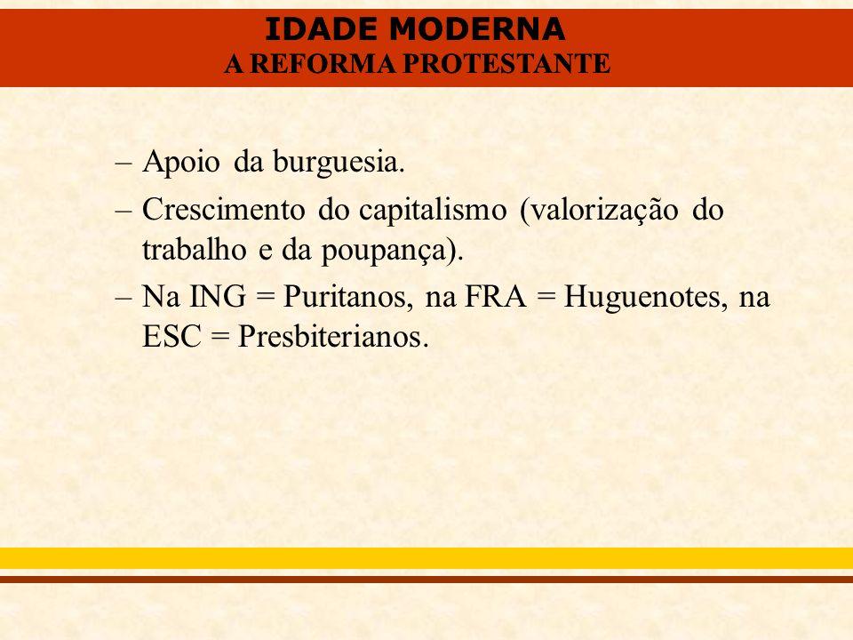 IDADE MODERNA A REFORMA PROTESTANTE IDADE MODERNA A REFORMA PROTESTANTE –Apoio da burguesia. –Crescimento do capitalismo (valorização do trabalho e da