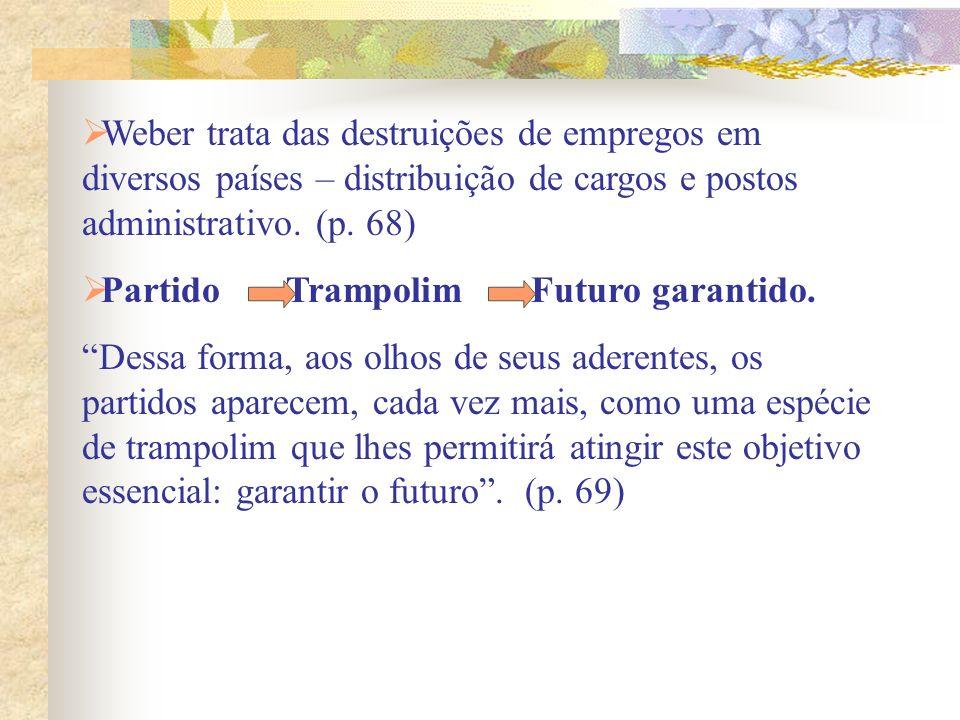 Weber trata das destruições de empregos em diversos países – distribuição de cargos e postos administrativo. (p. 68) Partido Trampolim Futuro garantid