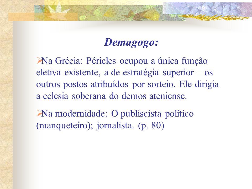 Demagogo: Na Grécia: Péricles ocupou a única função eletiva existente, a de estratégia superior – os outros postos atribuídos por sorteio. Ele dirigia