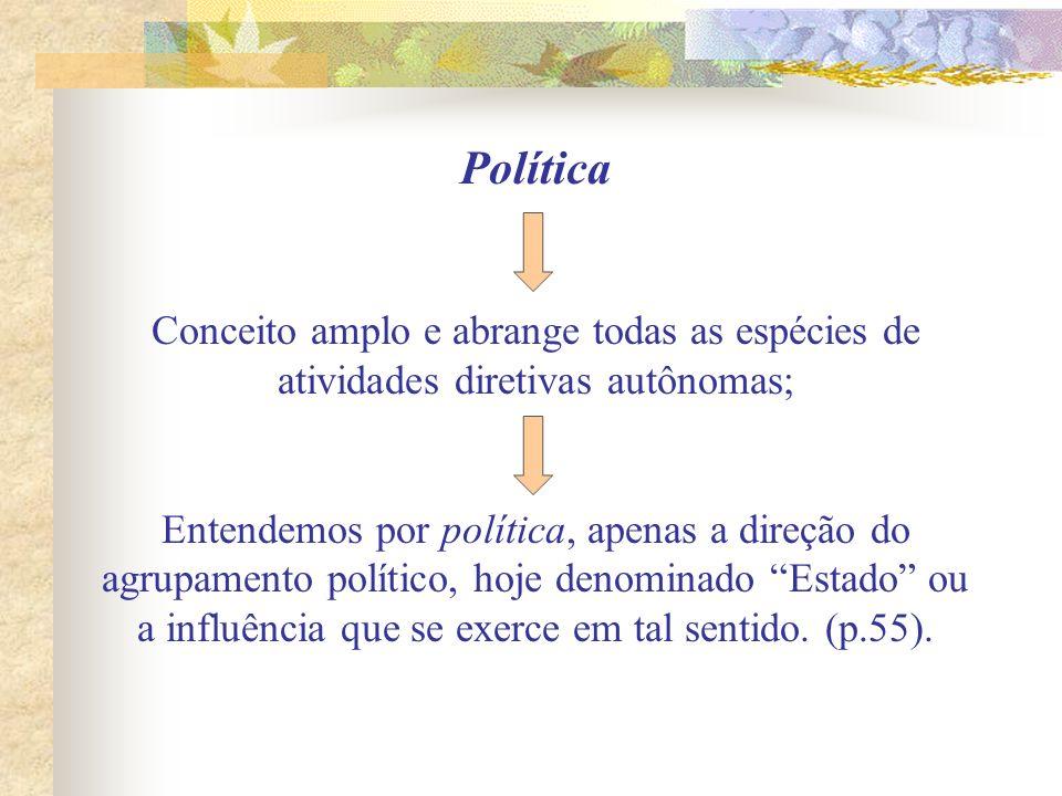 Política Conceito amplo e abrange todas as espécies de atividades diretivas autônomas; Entendemos por política, apenas a direção do agrupamento políti