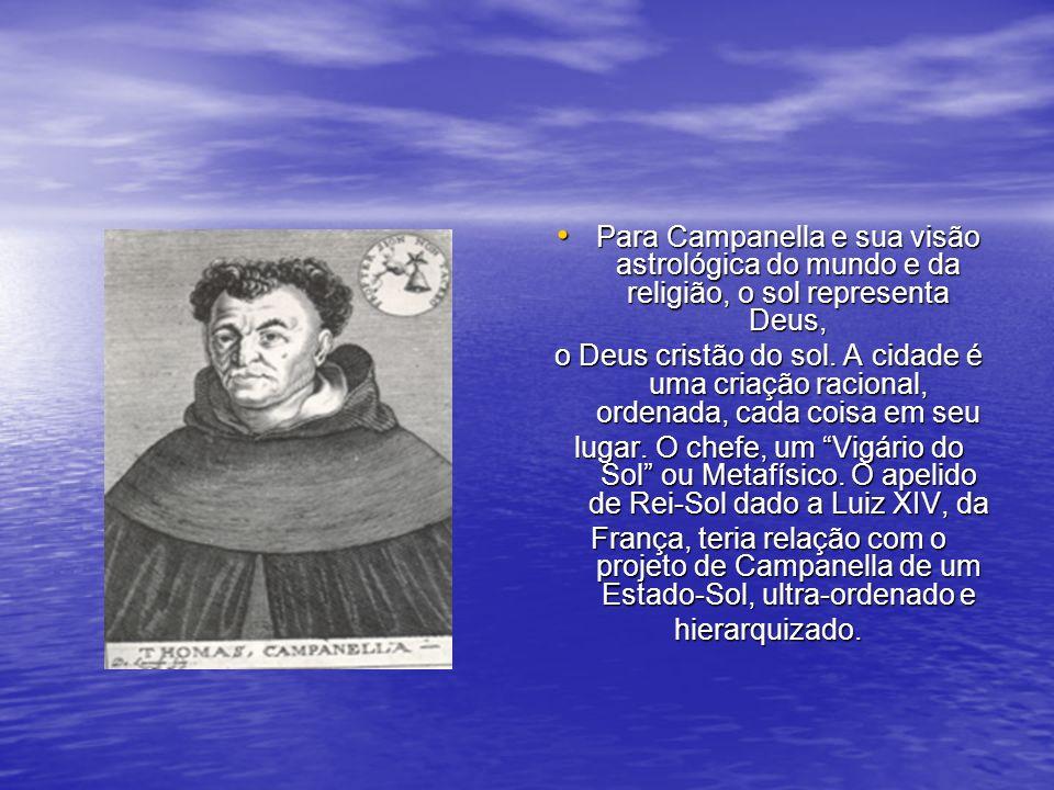 Para Campanella e sua visão astrológica do mundo e da religião, o sol representa Deus, Para Campanella e sua visão astrológica do mundo e da religião, o sol representa Deus, o Deus cristão do sol.