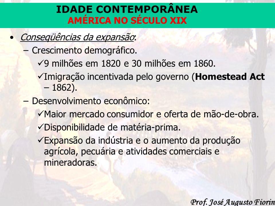 IDADE CONTEMPORÂNEA Prof. José Augusto Fiorin AMÉRICA NO SÉCULO XIX Conseqüências da expansão: –Crescimento demográfico. 9 milhões em 1820 e 30 milhõe