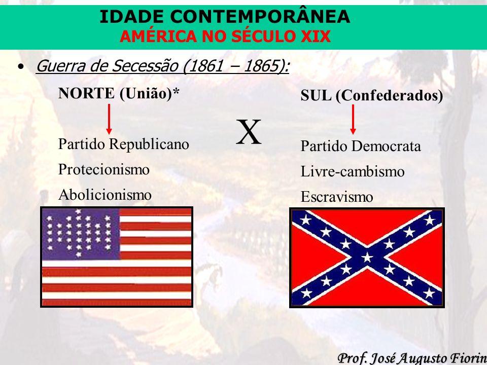 IDADE CONTEMPORÂNEA Prof. José Augusto Fiorin AMÉRICA NO SÉCULO XIX Guerra de Secessão (1861 – 1865): NORTE (União)* Partido Republicano Protecionismo