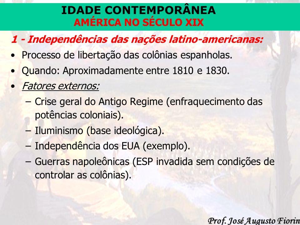 IDADE CONTEMPORÂNEA Prof. José Augusto Fiorin AMÉRICA NO SÉCULO XIX 1 - Independências das nações latino-americanas: Processo de libertação das colôni