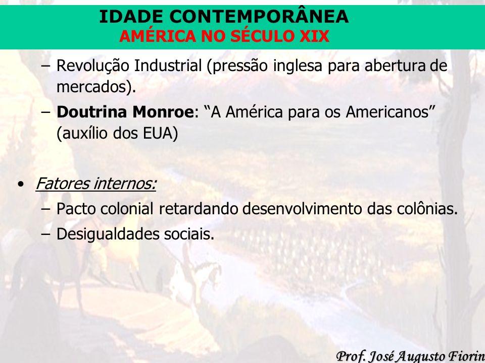 IDADE CONTEMPORÂNEA Prof. José Augusto Fiorin AMÉRICA NO SÉCULO XIX –Revolução Industrial (pressão inglesa para abertura de mercados). –Doutrina Monro