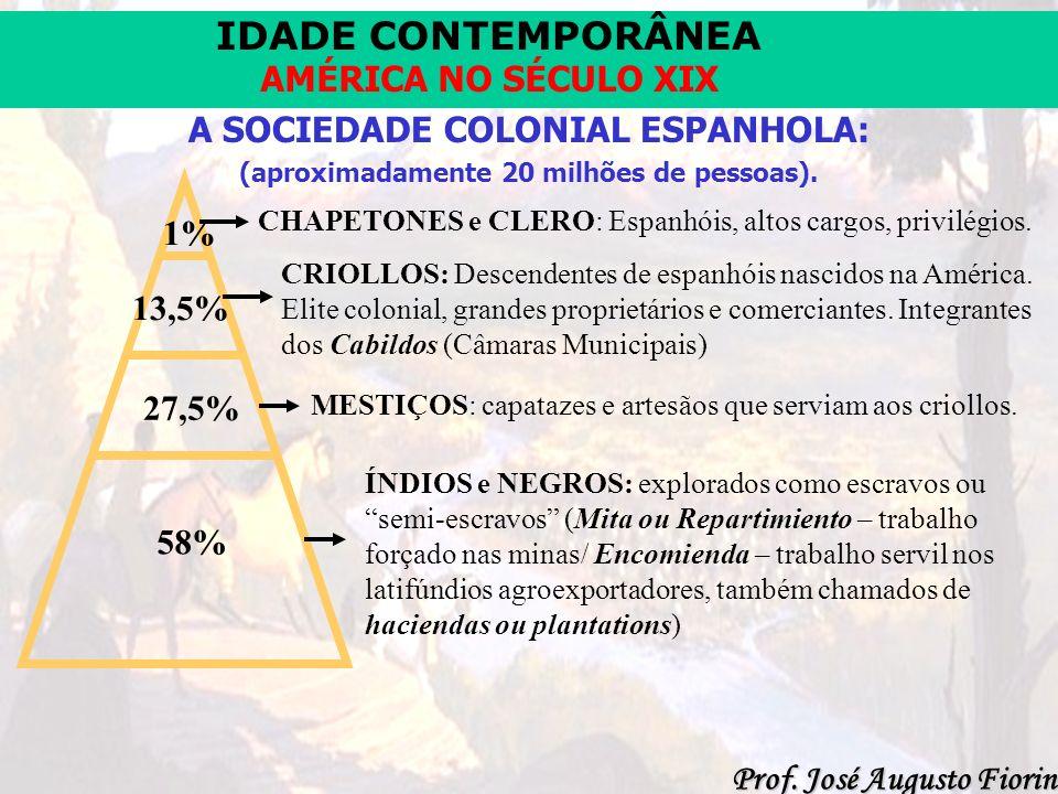 IDADE CONTEMPORÂNEA Prof. José Augusto Fiorin AMÉRICA NO SÉCULO XIX A SOCIEDADE COLONIAL ESPANHOLA: (aproximadamente 20 milhões de pessoas). CHAPETONE