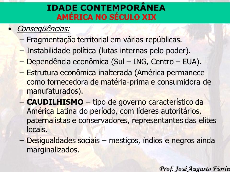 IDADE CONTEMPORÂNEA Prof. José Augusto Fiorin AMÉRICA NO SÉCULO XIX Conseqüências: –Fragmentação territorial em várias repúblicas. –Instabilidade polí