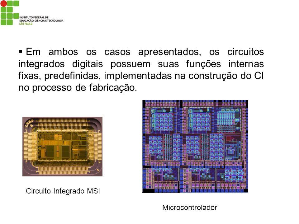 Em ambos os casos apresentados, os circuitos integrados digitais possuem suas funções internas fixas, predefinidas, implementadas na construção do CI