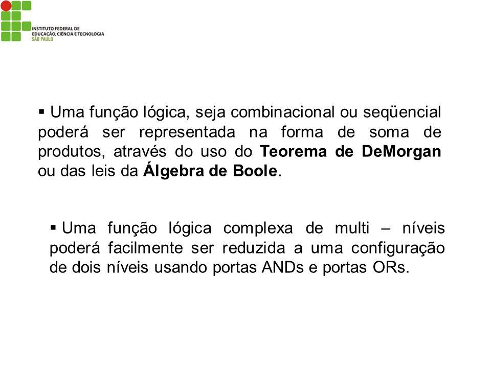 Uma função lógica, seja combinacional ou seqüencial poderá ser representada na forma de soma de produtos, através do uso do Teorema de DeMorgan ou das