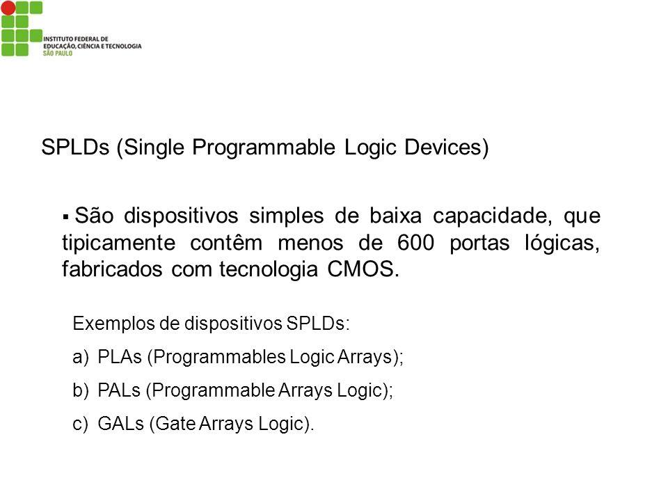 SPLDs (Single Programmable Logic Devices) São dispositivos simples de baixa capacidade, que tipicamente contêm menos de 600 portas lógicas, fabricados