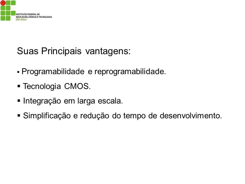 Suas Principais vantagens: Programabilidade e reprogramabilidade. Tecnologia CMOS. Integração em larga escala. Simplificação e redução do tempo de des