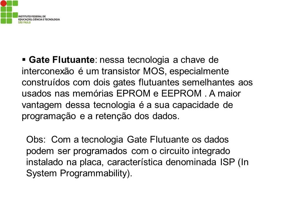 Gate Flutuante: nessa tecnologia a chave de interconexão é um transistor MOS, especialmente construídos com dois gates flutuantes semelhantes aos usad